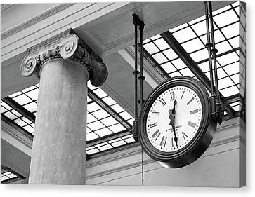 Clock And Column In Saint Paul Union Depot Canvas Print by Jim Hughes