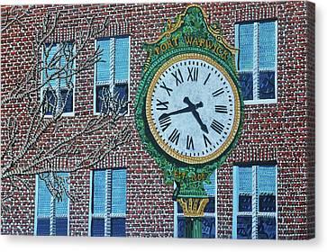 Clock At Port Warwick Canvas Print by Micah Mullen