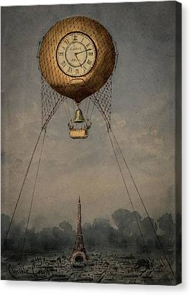 Clock Over Paris Canvas Print