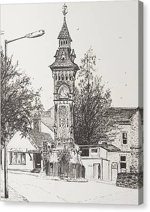 Clock Tower  Hay On Wye Canvas Print by Vincent Alexander Booth
