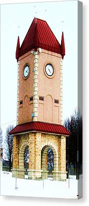 Clock Tower In Czech Village Canvas Print by Marsha Heiken
