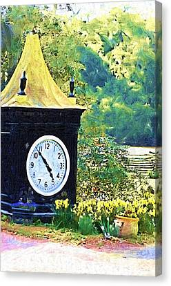 Canvas Print featuring the photograph Clock Tower In The Garden by Donna Bentley