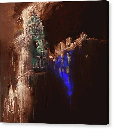 Clock Tower Iv Canvas Print by Mawra Tahreem