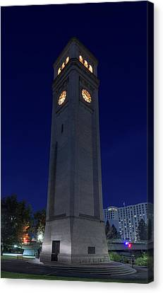 Clock Tower Spokane W A Canvas Print by Steve Gadomski