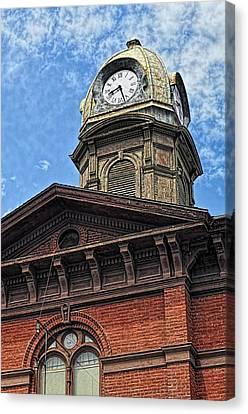 Clock Tower, The Dalles, Oregon Canvas Print by Thomas J Rhodes