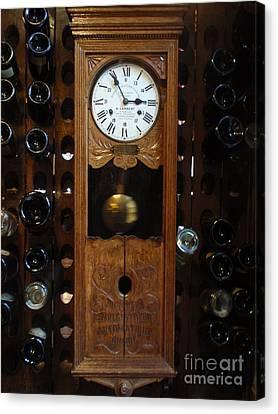 Clock Wine Rack Canvas Print by Valia Bradshaw