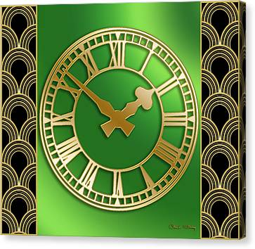Canvas Print featuring the digital art Clock With Border by Chuck Staley