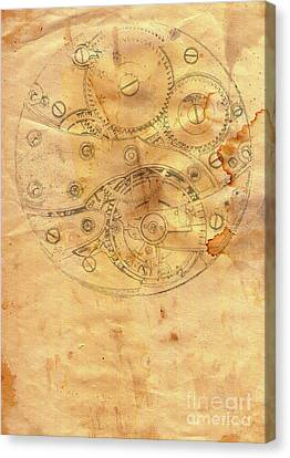Clockwork Mechanism On Grunge Paper Canvas Print