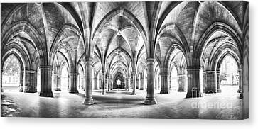 Europe Canvas Print - Cloister Black And White Panorama by Jane Rix