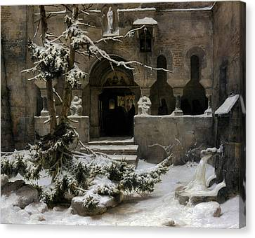 Cloister In The Snow Canvas Print by Carl Friedrich Lessing