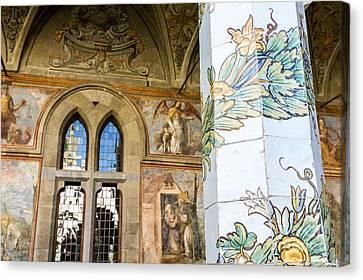 cloister of St. Chiara deyail Canvas Print by Massimo Lama