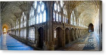 Canvas Print featuring the photograph Cloisters, Gloucester Cathedral by Colin Rayner