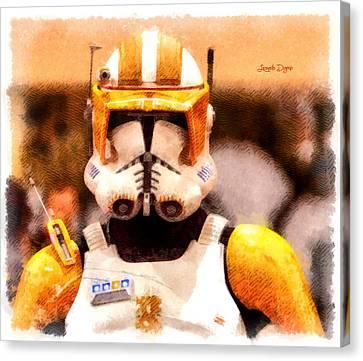 Clone Trooper Commander  - Cartoonized Style -  - Da Canvas Print by Leonardo Digenio