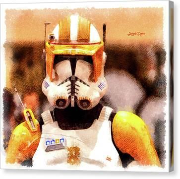 Clone Trooper Commander - Cartoonized Style Canvas Print by Leonardo Digenio
