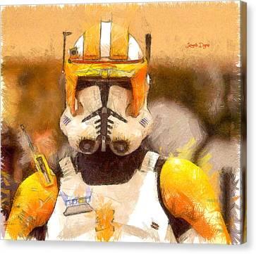 Clone Trooper Commander  - Pencil Style -  - Da Canvas Print by Leonardo Digenio