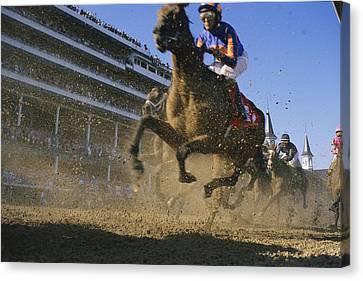 Close Action Shot Of Horses Racing Canvas Print by Melissa Farlow