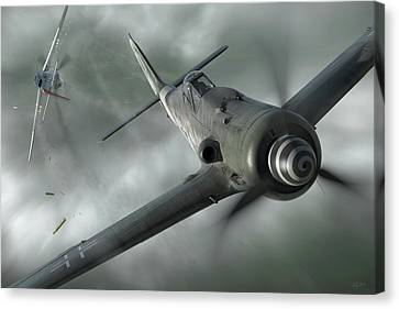 Fighter Canvas Print - Close Call by Robert Perry