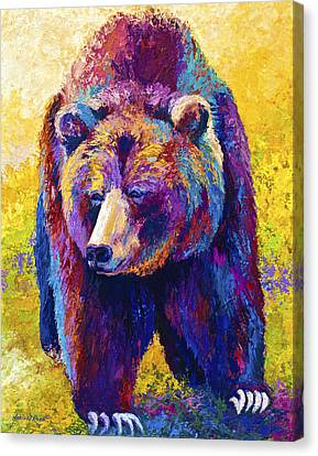 Close Encounter - Grizzly Bear Canvas Print by Marion Rose