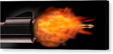 Close-up Of A Gun Firing A Bullet Canvas Print
