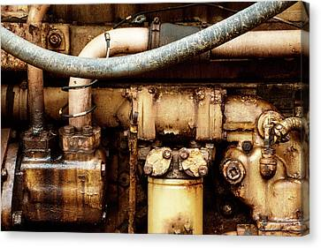 Close Up Of Grunge Old Combustion Engine From Vintage Tractor Canvas Print by Matthew Gibson