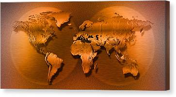 Computer Graphics Canvas Print - Close-up Of Map Of World by Panoramic Images