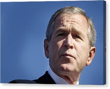 Close Up Of President George W. Bush Canvas Print by Everett