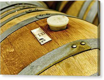 Close Up Of Red Wine Barrel Canvas Print by Teri Virbickis