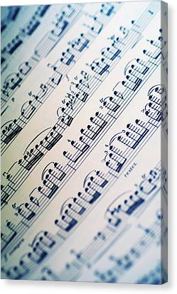 Close-up Of Sheet Music Canvas Print by Medioimages/Photodisc
