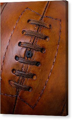 Close Up Vintage Football Canvas Print by Garry Gay
