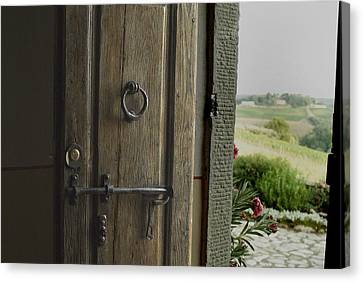 Close View Of A Wooden Door On A Villa Canvas Print by Todd Gipstein