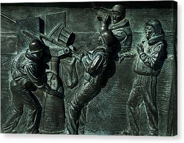 Close View Of Bronze Relief Sculpture Canvas Print by Todd Gipstein