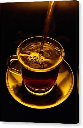 Close View Of Coffee Being Poured Canvas Print by Sam Abell