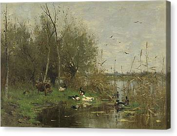Dutch Landscapes Canvas Print - Closed Border With Ducks by Geo Poggenbeek