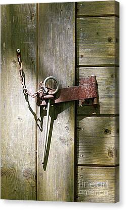 Forelock Canvas Print - Closed Door - Safety Pin by Michal Boubin