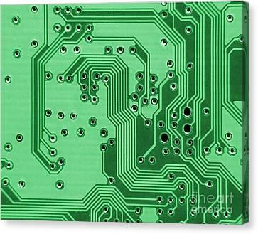 Closeup Of A Motherboard Canvas Print by Yali Shi
