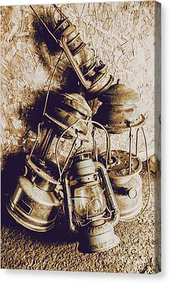 Closeup Of Antique Oil Lamps Canvas Print by Jorgo Photography - Wall Art Gallery