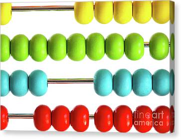 Educational Canvas Print - Closeup Of Bright  Abacus Beads On White by Sandra Cunningham