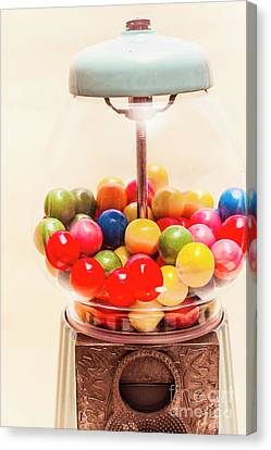 Closeup Of Colorful Gumballs In Candy Dispenser Canvas Print