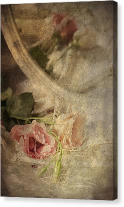 Closeup Of Flowers In Mirror Reflection Canvas Print