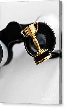 Copyspace Canvas Print - Closeup Of Small Trophy And Binoculars On White Background by Jorgo Photography - Wall Art Gallery