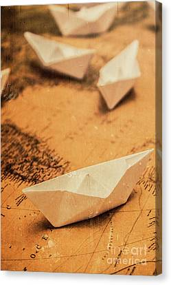 Toy Boat Canvas Print - Closeup Toned Image Of Paper Boats On World Map by Jorgo Photography - Wall Art Gallery