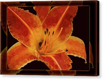 Closeup Wth A Vibrant Orange Lily Abstract Flower Canvas Print by Omaste Witkowski
