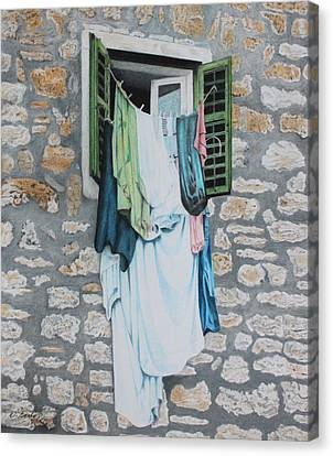 Clotheslines In Dobrovnik Canvas Print by Wilfrid Barbier