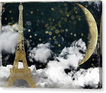 Big Moon Canvas Print - Cloud Cities Paris by Mindy Sommers
