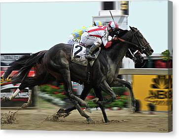 Computing Canvas Print - Cloud Computing, Finish Line, Winner 2017 Preakness, Jockey Javier Castellano, Classic Empire Second by Thomas Pollart