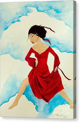 Cloud Dancing Of The Sky Warrior Canvas Print by Jean Fry