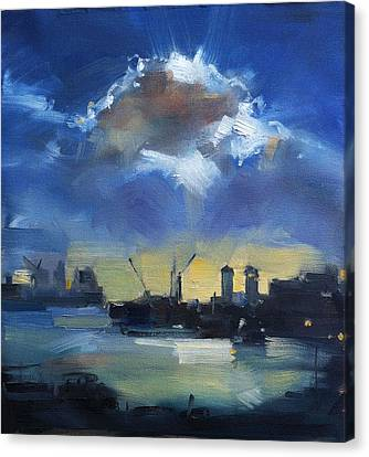 Cloud Over Docklands Canvas Print by Roz McQuillan
