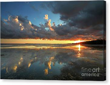 Southwest Florida Sunset Canvas Print - Cloud Reflections by Rick Mann