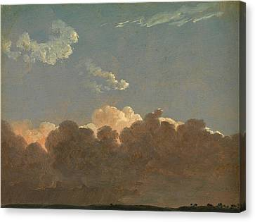 Canvas Print featuring the painting Cloud Study. Distant Storm by Simon Denis