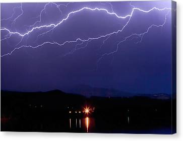 Cloud To Cloud Horizontal Lightning Canvas Print by James BO  Insogna
